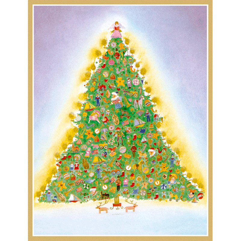 Unique Boxed Christmas Cards.Tree With Toys Boxed Christmas Cards 16 Cards 16 Envelopes