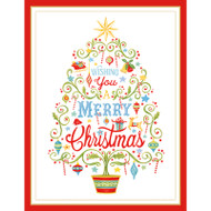 Merry Christmas Tree Large Boxed Christmas Cards - Embossed - 10 Cards & 10 Envelopes (87316)