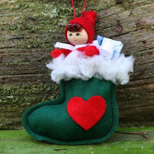 "Butticki Tomte Santa in Stocking Ornament - 3.75"" (13155)"