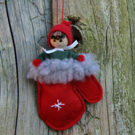 "Butticki Tomte Santa in Mitten Ornament - 4.5"" (15250)"