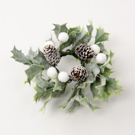 "Candle Ring - Holly and Pine Cones - White - 3.5"" (E397-WG)"