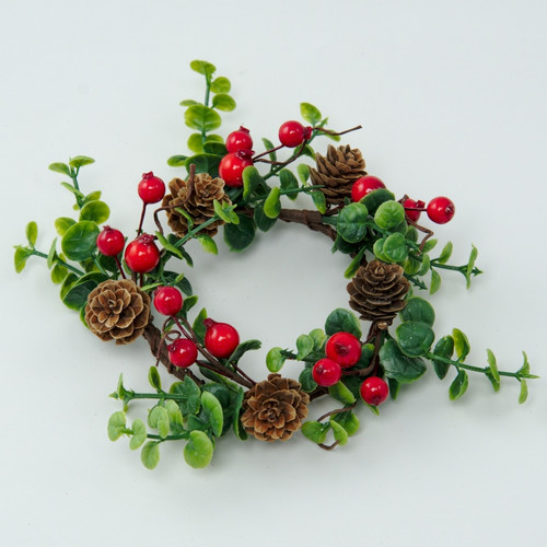 "Pillar Candle Wreath/Ring - Lingonberry and Pinecone - 6.5"" (E407-R)"