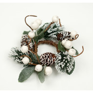 "Candle Ring - White Berry and Pine Cones - 3.5"" (E293-WG)"