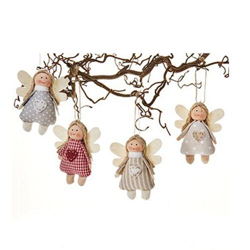 Fabric Angel Ornaments - Set of 4 (8621)