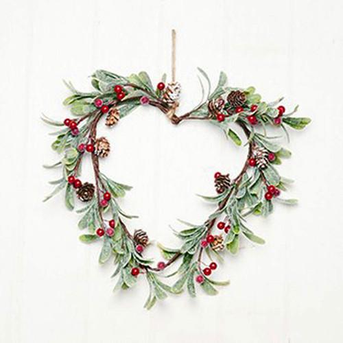 """Heart Wreath with Pine Cones & Berries - 12"""" (7796)"""