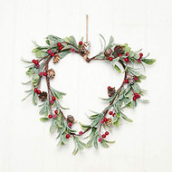"Heart Wreath with Pine Cones & Berries - 12"" (7796)"