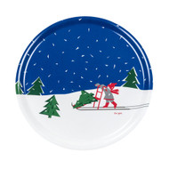 "Girl and Sled - Scandinavian Spark Round Tray - 15.5"" (16404)"