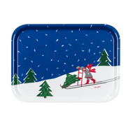 "Girl and Sled - Scandinavian Spark Serving Tray - 8.5"" x 11"" (16401)"