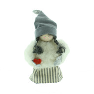 "Tomte Santa Girl with Wooden Heart - 5"" (17024)"