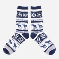 Unisex Crew Socks - Moose - Blue (89080)