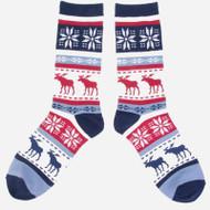 Unisex Crew Socks - Moose - Red/White/Blue (89079)