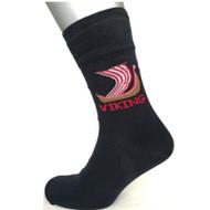 Unisex Crew Socks - Viking Ship - Black (88226)