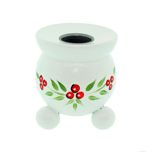 "Swedish Barrel Candle Holder - White w/Lingonberries - 3"" (405W)"