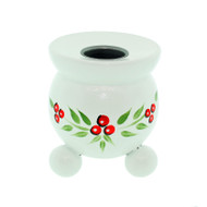"Swedish Barrel Candle Holder - White w/Lingonberries - 3"" (405W)"