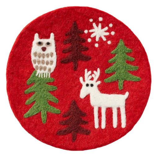 Christmas Forest Felted Pot Mat Trivet (590927)