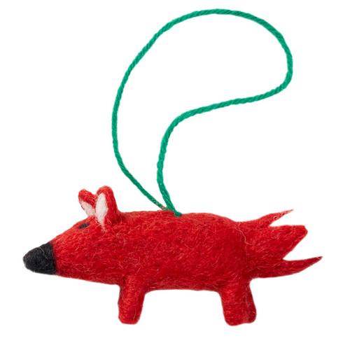 "Fox Felt Christmas Ornament - 3"" - Klippan (591059)"