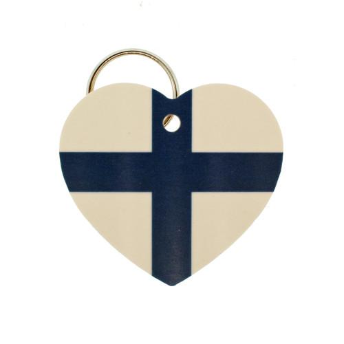 "Finland Flag Heart Key Ring - 2"" (303.603F)"