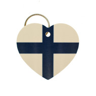 "Finland Flag Heart Key Ring - 2"" (303.603F)"