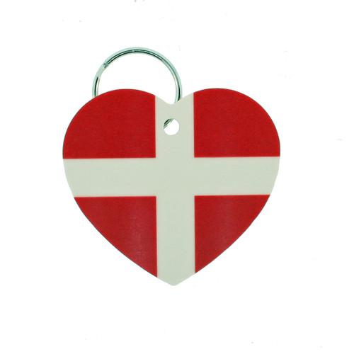 """Denmark Flag Heart Key Ring - 2"""" (303.603D)"""