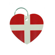 "Denmark Flag Heart Key Ring - 2"" (303.603D)"