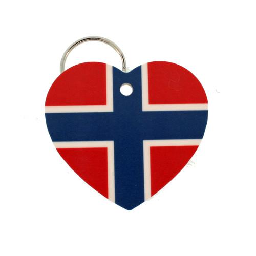 """Norway Flag Heart Key Ring - 2"""" (303.603N)"""