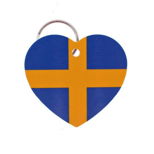 """Sweden Flag Heart Key Ring - 2"""" (303.603S)"""