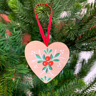 "Heart Ornament w/Lingonberries - Wooden - 2"" (SW891)"