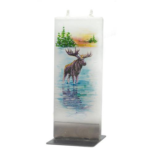 Handmade Decorative Flat Candle - Moose in Lake (D18059)
