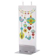 Handmade Decorative Flat Candle - Baubles & Birds (D18101)