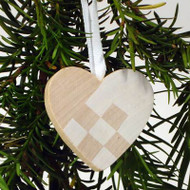 Heart Basket Ornament - Wooden - White (44702W)