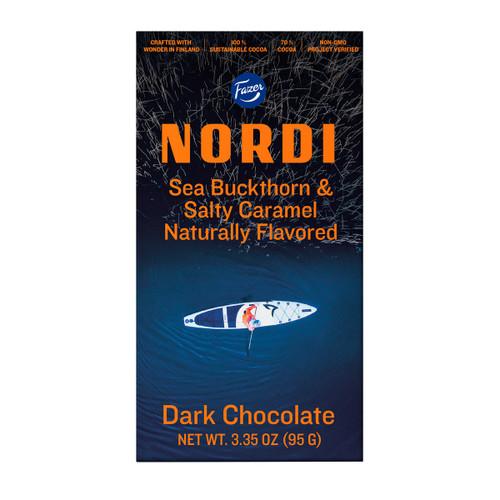 Fazer Nordi Sea Buckthorn & Salty Caramel Dark Chocolate Bar - 3.35 oz. (95g) (24499)