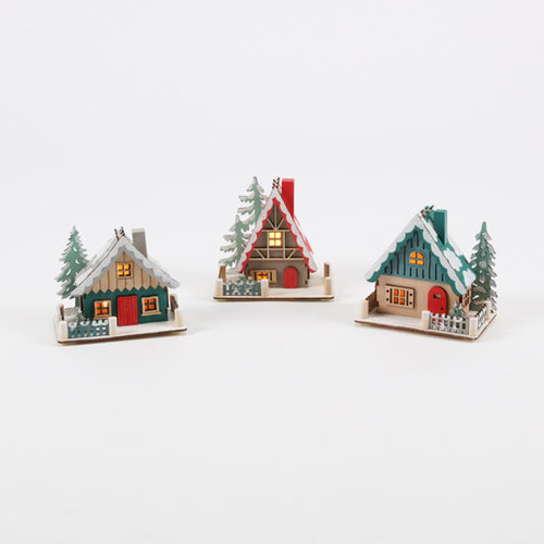 Wooden Ski Lodge - Set of 3 (CY0078)