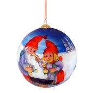 """Rolf Lidberg Christmas Ball Ornament - Tomtar Couple - 3.5"""" (3030)"""