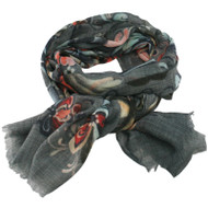 Wool Scarf with Rose Paint - Grey - 180 cm x 70 cm - Rosemaling (452040)
