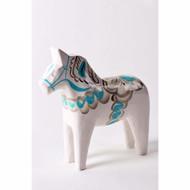 "Swedish Wooden Dala Horse - White & Blue - 5"" (SDH5WB)"