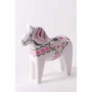 """Swedish Wooden Dala Horse - White & Pink - 5"""" (SDH5WP)"""