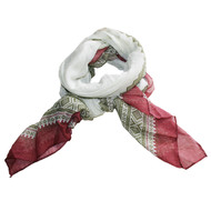 Marius Scarf - Ivory, Olive Green and Burgundy (451964)