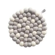 Wool Trivet/Pot Mat - White Dots