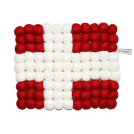 Wool Trivet/Pot Mat - Danish Flag (1589D)