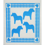 Swedish Dishcloth - Dala Horse Blue (206B)
