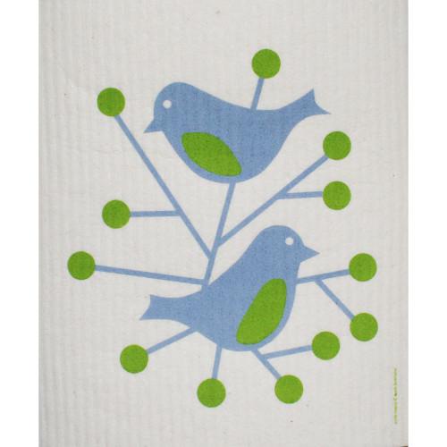 Swedish Dishcloth - Birds Blue (211B)