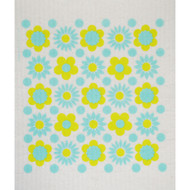 Swedish Dishcloth - Flower Power Aqua (218.54A)