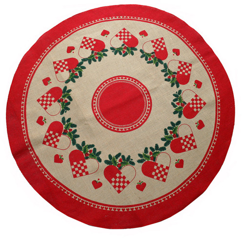 Jute Tree Skirt - Heart Basket (1131J)