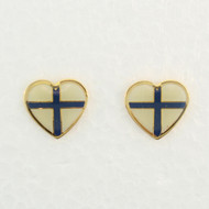 "Finland Flag Earrings (Posts) - Enamel - 1/2"" (100EPF)"
