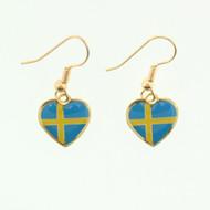 """Sweden Flag Heart Earrings - Enamel - 1/2"""" (100ES)"""