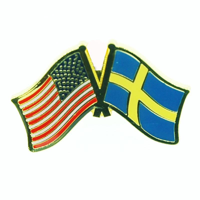 6489032e ScandinavianShoppe.com - USA & Sweden Flag Lapel Pin - Tie Tack (LP-US)