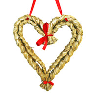 "Straw Heart w/Ribbon - 14"" (H1-134)"