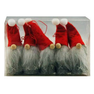 Tomte-Santa Nordic Gnome Ornaments - 4 Pack - Red and Grey (H1-1649)