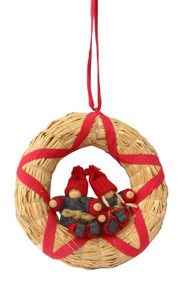 Tomte Santa Couple in Straw Wreath (H1-298)