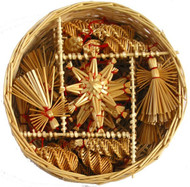 Straw Ornaments in Basket - 30 Assorted (H1-588)
